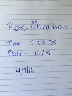 Time and position out of the 18 women. Total position was 51/55 marathon participants.