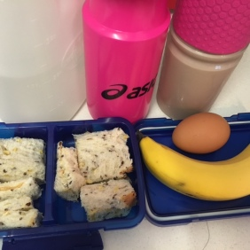 Lunch box ready to pack, and water bottle for my camelbak.